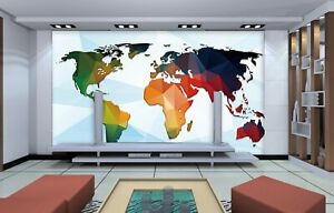 3D Color Map KEP2233 Wallpaper Mural Self-adhesive Removable Sticker Bea