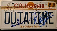 Back To The Future Signed License plate Michael J. Fox Christopher Lloyd Lea 3x