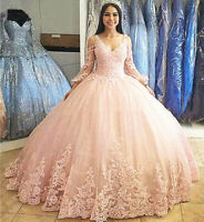 Lace Applique V-Neck Quinceanera Dresses Sweet 16 Beaded Prom Party Pageant Gown
