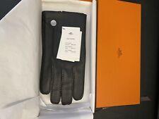 NEW Hermes Men's Gloves Black Lambskin/silk Sz 8.5