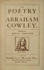 DAVID TROTTER THE POETRY OF ABRAHAM COWLEY MACMILLAN PRESS 1979