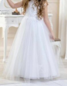 Girls White Glitter First Holy Communion Flower Girl Dress from Lacey Bell