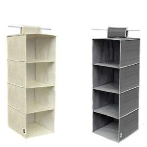 Organizer per armadio guardaroba salva spazio 4 ripiani portaoggetti 80x30x30 cm
