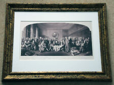 Large old print of an official gathering with all signatures below