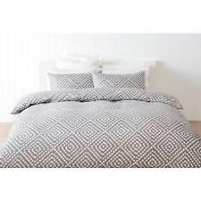 Queen Bed Florida Blue White Stripe Print Quilt Doona Cover 3pc Set