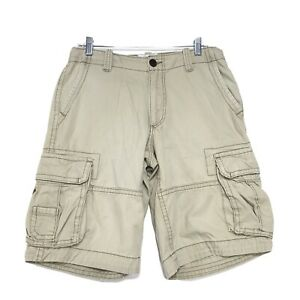 Aeropostale Authentic Cargo Shorts Mens Sz 30 Distressed Khaki Tan Drawstring