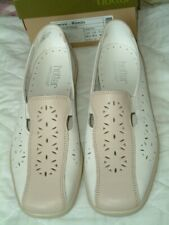 Hotter BRAND NEW Ladies 'Rimini' White&Nude Leather Flat Shoes.UK 6.5. EUR40 STD