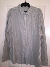 Basic Editions Mens Shirt Size 2XL LONG SLEEVE DRESS CAUSAL GRAY GREEN STRIPED