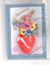 3D Glückwunschkarte Einladung zur Hochzeit,Grußkarte,blau,Blumen,K1