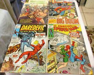 AMAZING SPIDERMAN # 92 VS ICE MAN DAREDEVIL # 67 4 COMIC SILVERAGE LOT SUPERMAN!