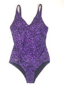 Speedo Womens Purple Black Pattern One Piece Swim Suit Size 10 Racerback Racing
