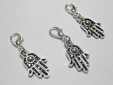 25 Silver Hamsa Hand Clip On Charms Fit Chain Bracelet