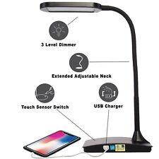 Elegante Lampara De Escritorio Con Luz LED Y Cargador USB Para Celular O Tableta