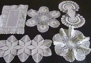 Five White Finely Hand Crocheted Vintage Doilies Including Two Sandwich Doilies