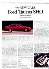 1989 Taurus Ford SHO Original Car Review Report Print Article J967