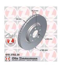 "2 Brake Discs Front Zimmermann 12.01in 16 "" Inch Volvo V70-ii Xc70 S60 S80 Top"