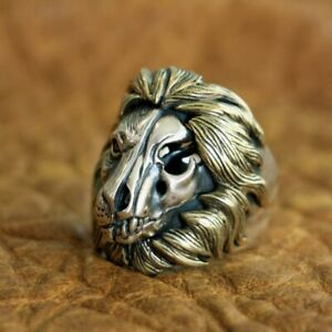 Brass Mane 925 Sterling Silver Skull Lion Ring Mens Biker Punk Ring TA115A 7~15