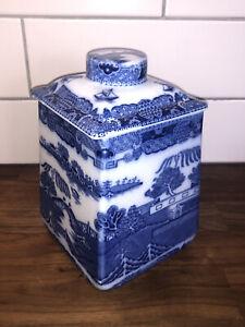 ANTIQUE BLUE & WHITE RINGTONS TEA MERCHANTS TEA CADDY