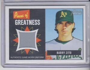 2005 Bowman Heritage Barry Zito Pieces of Greatness Jersey Oakland Athletics