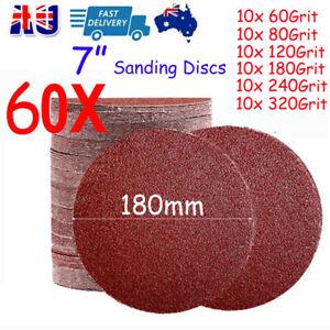 "60X 180mm Sanding Discs 7"" inch Sandpaper Pads Hook and Loop 60 80 120-320 Grit"