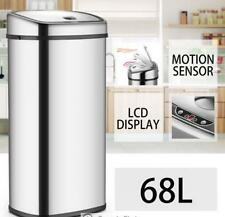 68L LCD Silver Chrome Sensor Operated Touch Less Dust Bin Cleaning Supplies