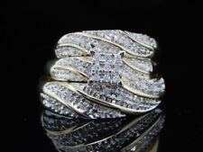 14K Yellow Gold FN Round Diamond Wedding Bridal Band Engagement Trio Ring Set