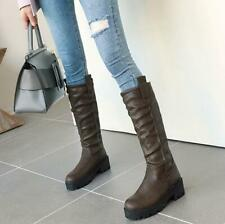 Women's Motorcycle Casual Shoes New Pleated Round Toe Mid Calf Boots Chunky Heel