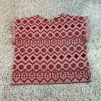 ZARA Womens Top Shirt Medium Red Ruffle Sleeve Cutwork Blouse