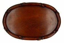More details for old chinese wooden tray faux bamboo edge possibly 19th century
