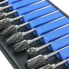 "10pcs 1/8"" Shank Tungsten Carbide Burr Rotary Drill Bits Tools Cutter Files Set"