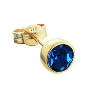 Einzel Ohrstecker Gold 333er 5,50mm dunkelblau Zirkonia Ohrring F71