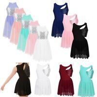 Girls Lyrical Dance Dress Contemporary Ballet Sequins Leotard Dancewear Costume