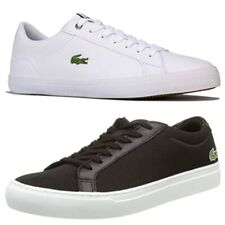 Lacoste Mens Gents Lerond Smart Casual White Black Leather Lace Up Trainers
