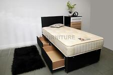 "3ft Single Black Bed+Luxury Orthopaedic Firm10"" Mattress+2 Drawers+Headboard!!!!"