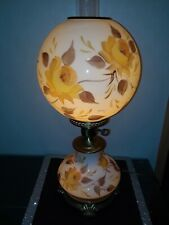 Vintage L.G. Wright By Fenton Yellow Cased Gwtw 3 Way Lamp w/Roses Hp Barbara N