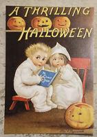 Postcard ~ 14x10cm Vintage Halloween reprint Thrilling Ghost Story