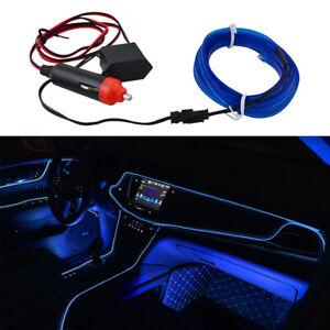 Blue LED Car Interior Decor Atmosphere Wire Moulding Strip Light Lamp Line 2M