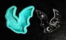 Shiny Moon and Stars BAT Etched SILICONE Mold - Resin Clay - Galaxy DIY Charms
