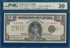 CANADA Dominion 2 Dollars 1923 P34j DC-26j V/F PMG 30 King George V KGV