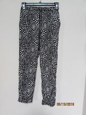 "junior size M ""love fire"" thin black Tribal Pants banded ankles pockets african"