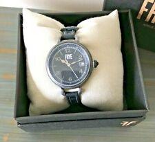 NIB FRYE SAPPHIRE CRYSTAL 36mm Silver Black Leather Strap Watch FR00019