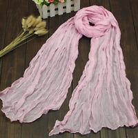 Bunt Damen S Warm Falte Lang Knitter Schal Schal Süßigkeiten 9 Farben Neu cRUWK
