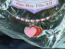 Pink and red hearts white beads on a solid wire choker ear ring set Lovin Heart