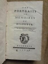 PORTRAITS OU MEMOIRES DE DIABRECK.fiction satyrique sur la PERSE.1787.Londres
