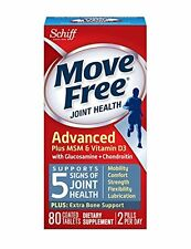 6 Pack Move Free Joint Health Advanced Plus MSM & Vitamin D3 80 Tablets Each