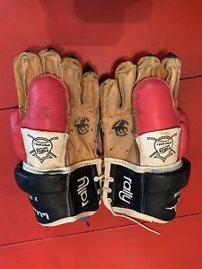 Vintage Rally Horsehide BOBBY ORR Armor Plate Protector Hockey Gloves RARE