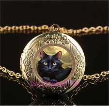 Black Cat  Photo Cabochon Glass Gold Plating Locket Pendant Necklace