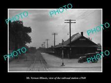 OLD POSTCARD SIZE PHOTO OF MT VERNON ILLINOIS THE RAILROAD DEPOT STATION c1940