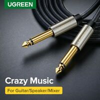 """Ugreen GOLD Mono 6.35mm 1/4"""" Jack Plugs Guitar/Amp/Instrument Audio Cable Lead"""