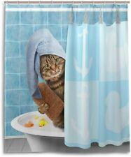 "Funny Animal Cat Bathing Shower Curtain Polyester Fabric Bathroom Decor 71""x71"""